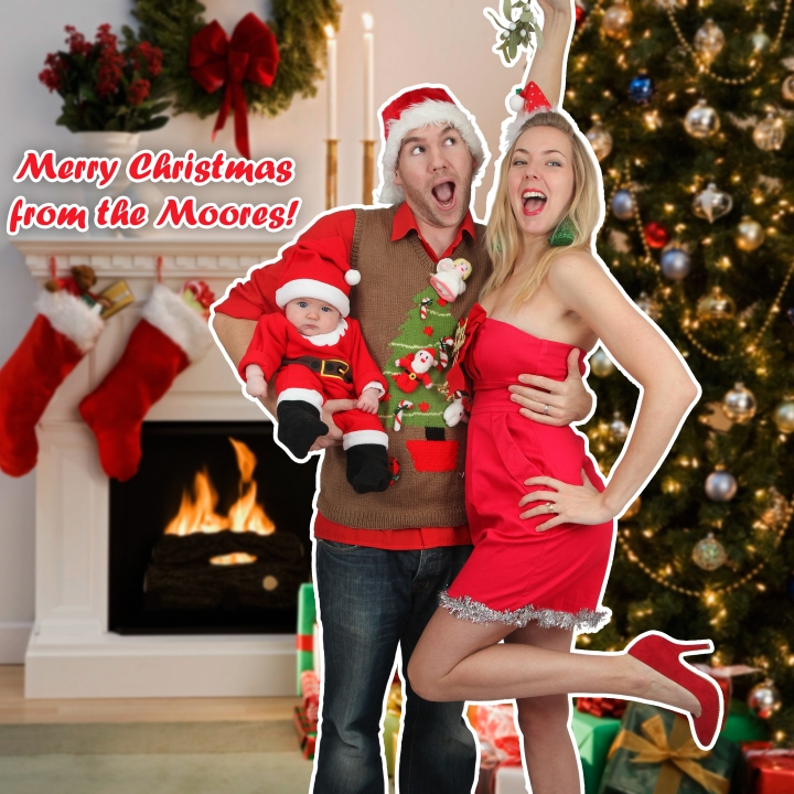 The Moores Cheesy Christmas Family Photo 2012