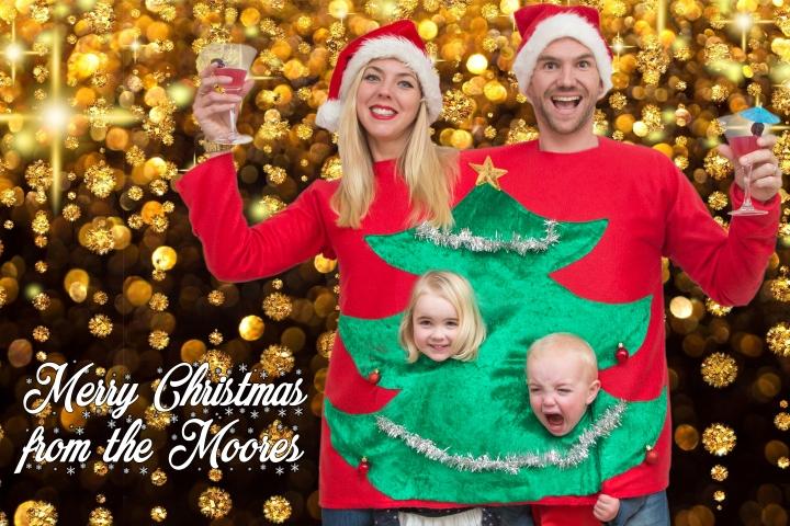 Cheesy Christmas Family Photo 2017